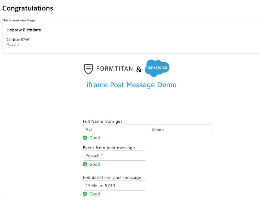 Post Message to embedded form in Salesforce