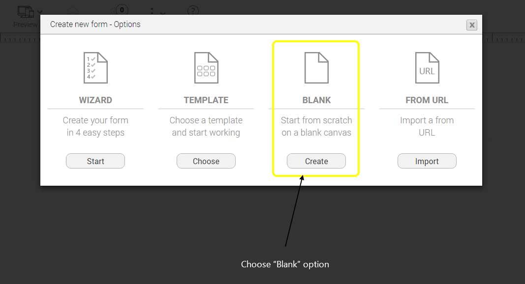Create blank form