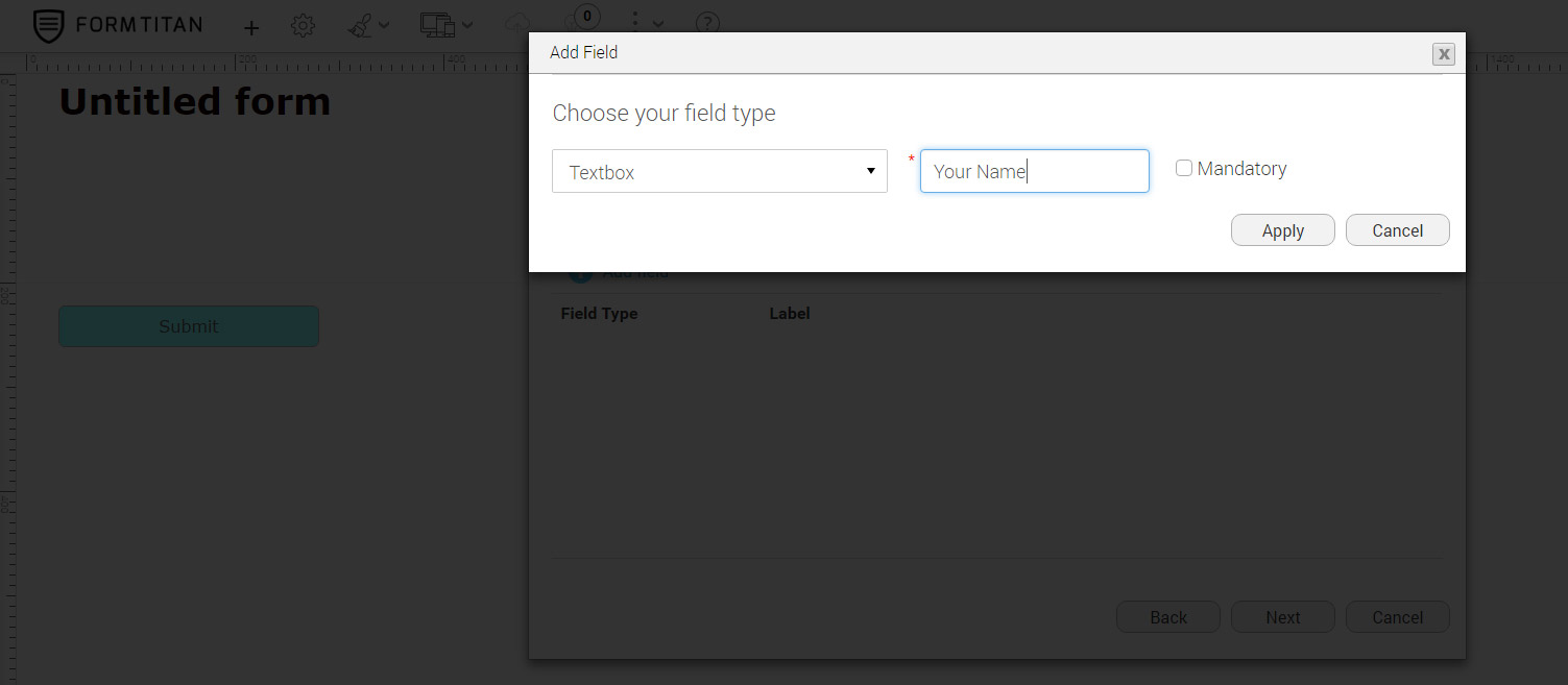 Second step: Add the fields to your form